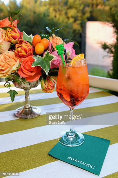 Town Country Aperol Spritz cocktail is served during the Town Country cocktail party at SW Steakhouse at Wynn Las Vegas on June 3 2016 in Las Vegas...