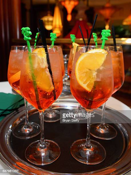 Town Country Aperol Spritz cocktails are served during the Town Country cocktail party at SW Steakhouse at Wynn Las Vegas on June 3 2016 in Las Vegas...