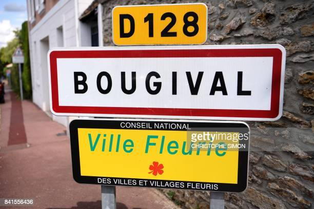A town entrance sign is pictured in Bougival a western Paris suburb on September 1 2017 After weeks in a Paris palace hotel French L1 Paris...