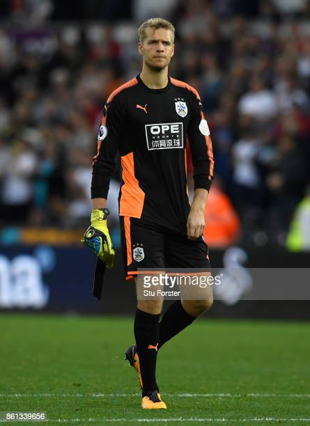 Town goalkeeper Jonas Lossl reacts during the Premier League match between Swansea City and Huddersfield Town at Liberty Stadium on October 14 2017...