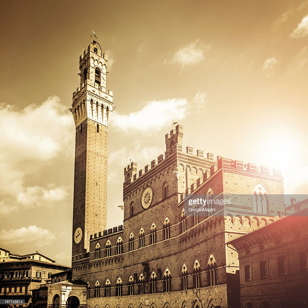 Town Hall against Sunlight in Siena, Italy
