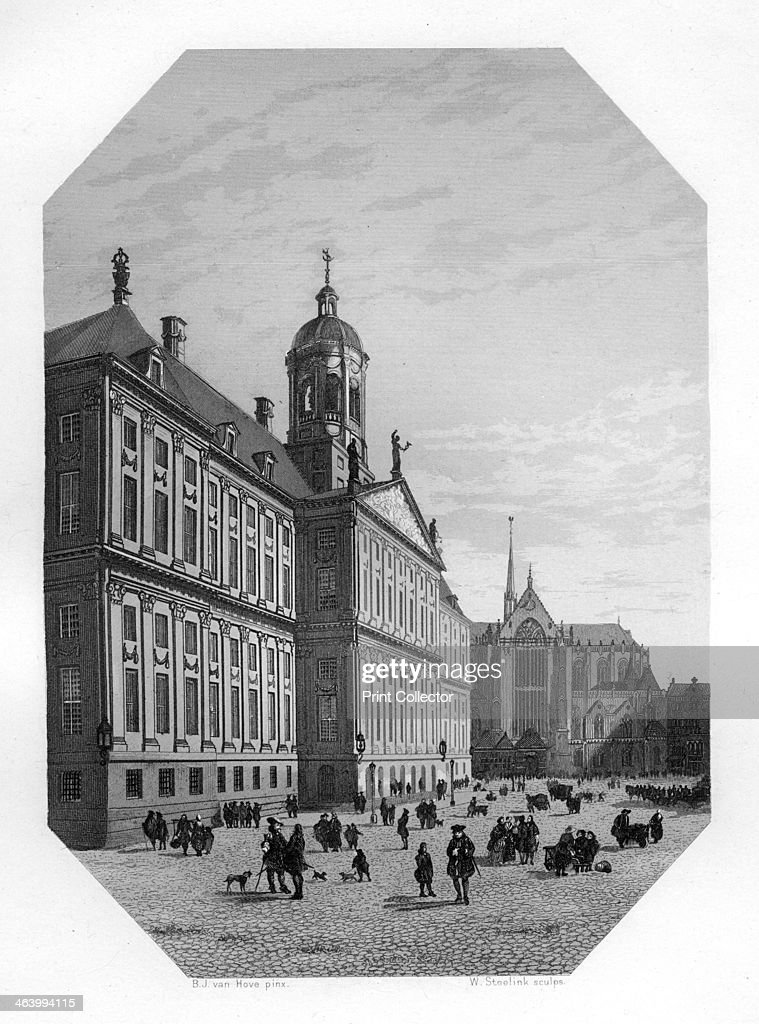 Town Hall in Amsterdam Netherlands c1870 Amsterdam's town hall was built between 1648 and 1655 The building became a royal palace when Louis Napoleon...