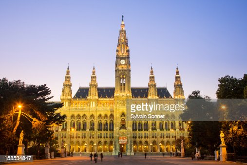 Town Hall in Vienna at Dusk : Stock Photo