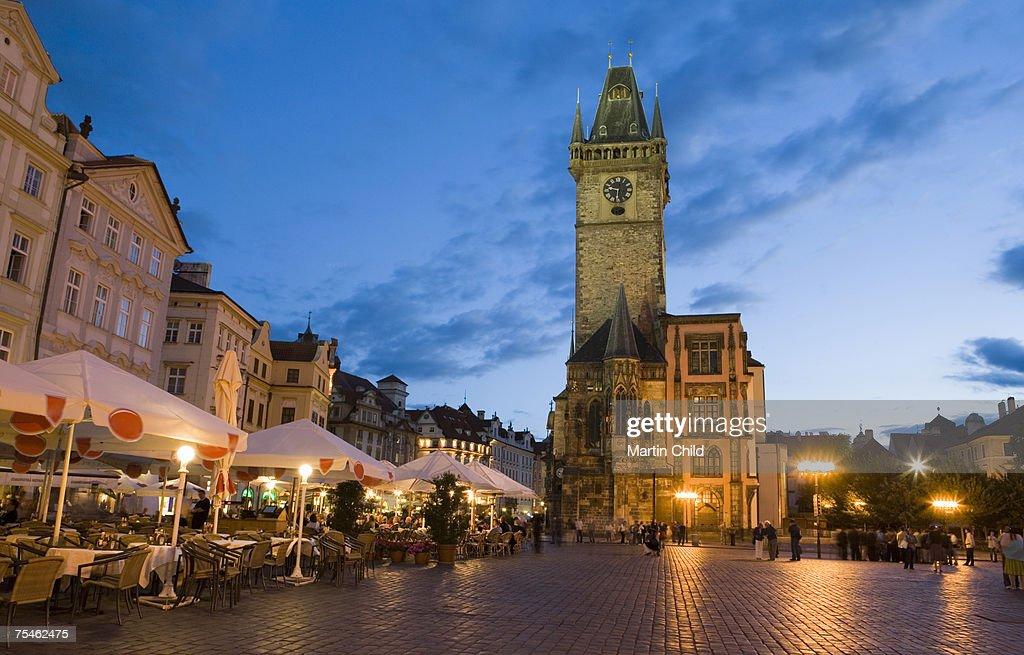 Town Hall, Old Town Square, Prague, Czech Republic, dusk : Stock Photo