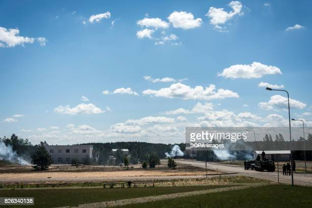 Town held by 'separatists' comes under mock artillery attack preceding a ground assault by joint LIthuanian and US forces Image taken during a NATO...