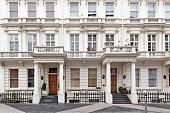"""Regency Georgian terraced town houses in London's, Kensington, England"""