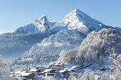 Winter wonderland scenery with the historic town of Berchtesgaden and Watzmann mountain in the Alps, Bavaria, Germany