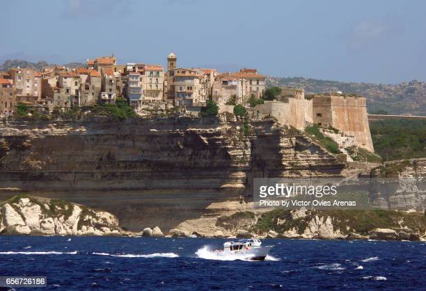 Town of Bonifacio perched on the cliffs of the Southern coast of Corsica in France