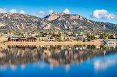 Stock photograph of the town of Estes Park reflecting in Lake Estes Colorado USA on a sunny day.