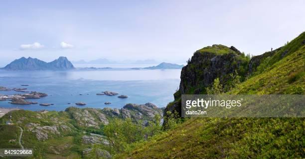Town of Svolvaer seen from Tjeldbergtind mountain, Lofoten, Nordland, Norway