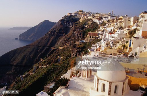 Town on cliff top, Wide Angle, Fira, Greece