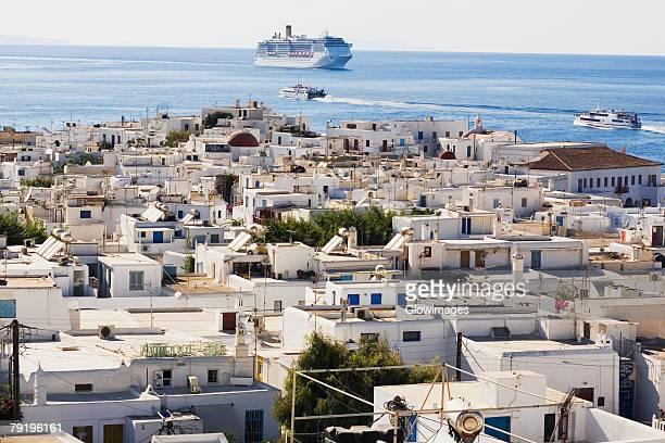 Town on the coast, Mykonos, Cyclades Islands, Greece