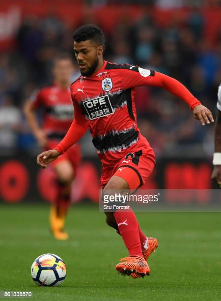 Town player Elias Kachunga in action during the Premier League match between Swansea City and Huddersfield Town at Liberty Stadium on October 14 2017...