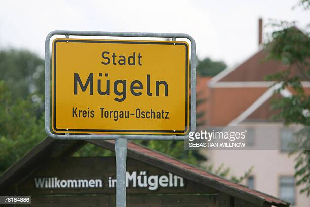 A town sign of Muegeln eastern Germany is pictured 20 August 2007 German police said they believed farright motives could be behind an attack on...