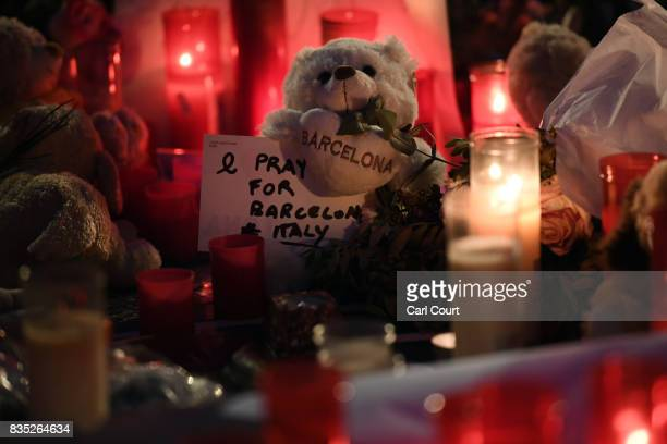 A toy bear is laid on Las Ramblas near to the scene of yesterday's terrorist attack on August 18 2017 in Barcelona Spain Fourteen people were killed...