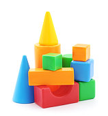 Toy building material isolated on a white background.