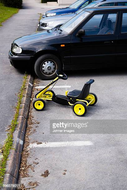 Toy car on parking space