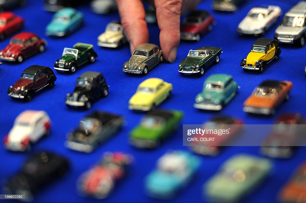 Toy cars are displayed at the London Toy Fair in Olympia, central London, on January 23, 2013.