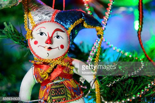 toy clown on the Christmas tree : Stock Photo