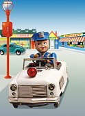 Toy Doll, Police Man Driving the Patrol Car, Front View