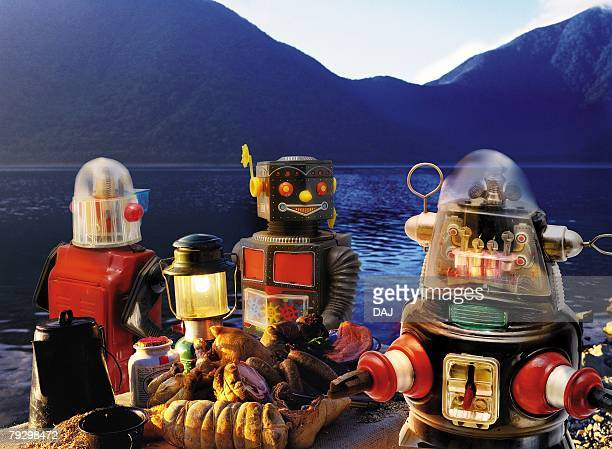 Toy Doll, Robots and Mountain Range, Front View