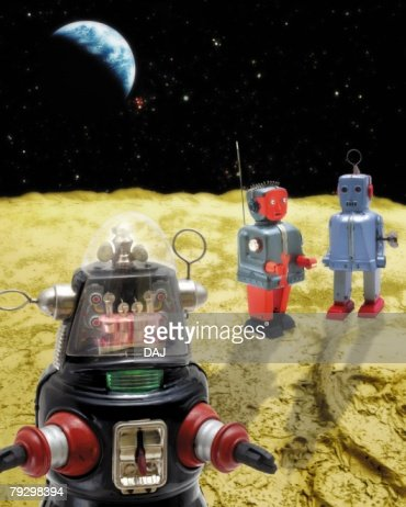 Toy Doll, Space Exploration, High Angle View : Stock Photo