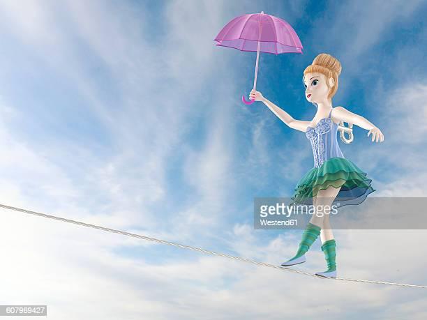 Toy doll, tightrope walker, 3D Rendering