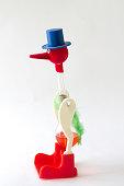 "Toy ""drinking bird"" on a white background"