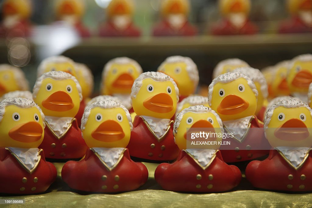 Toy ducks designed in the style of composer Wolfgang Amadeus Mozart are on display in Salzburg, Austria, on January 8, 2013.