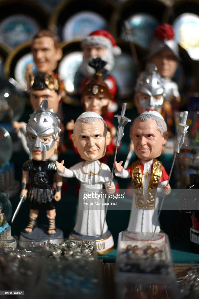 Toy figures depicting Pope John Paul II and Pope Benedict XVI are displayed for sale on February 24, 2013 in Rome, Italy. The Pontiff will hold his last weekly public audience on February 27, 2013 before he retires the following day. Pope Benedict XVI has been the leader of the Catholic Church for eight years and is the first Pope to retire since 1415. He cites ailing health as his reason for retirement and will spend the rest of his life in solitude away from public engagements.