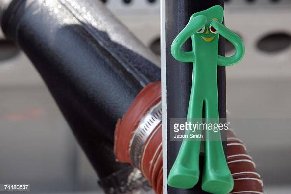 A toy Gumby is attached to the inside of the car of Robert Richardson Jr driver of the US Border Patrol Chevrolet during qualifying for the NASCAR...
