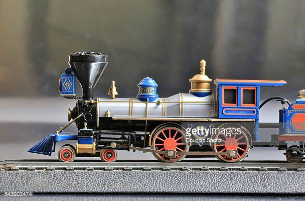 Toy Model train on the railroad track