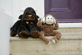 Toy monkey and gorilla sit outside home