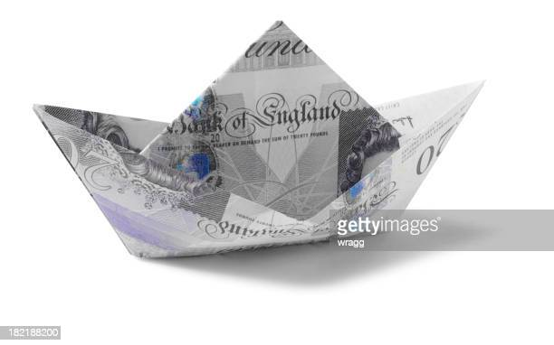 Toy Paper Boat, Made from Twenty British Pounds