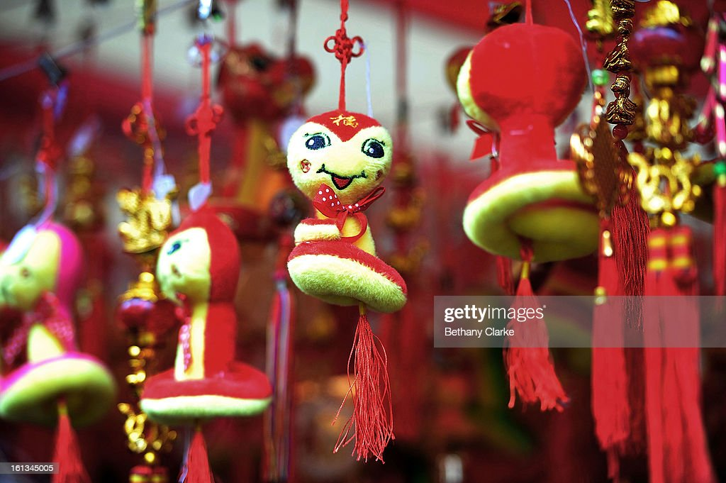 Toy snakes hang in a toy stall in China Town February 10, 2013 in London, England. London's Chinese community celebrate the start of the Year of The Snake with traditional dancing, music and fireworks.