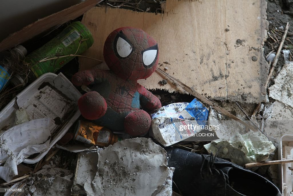 A toy Spiderman is left in the rubble destroyed by the earthquake on April 4,2011, in Myako City,Japan. These objects are from the 30 000 victims of the earthquake that hit Japan on March 11, 2011 followed by an tsunami.