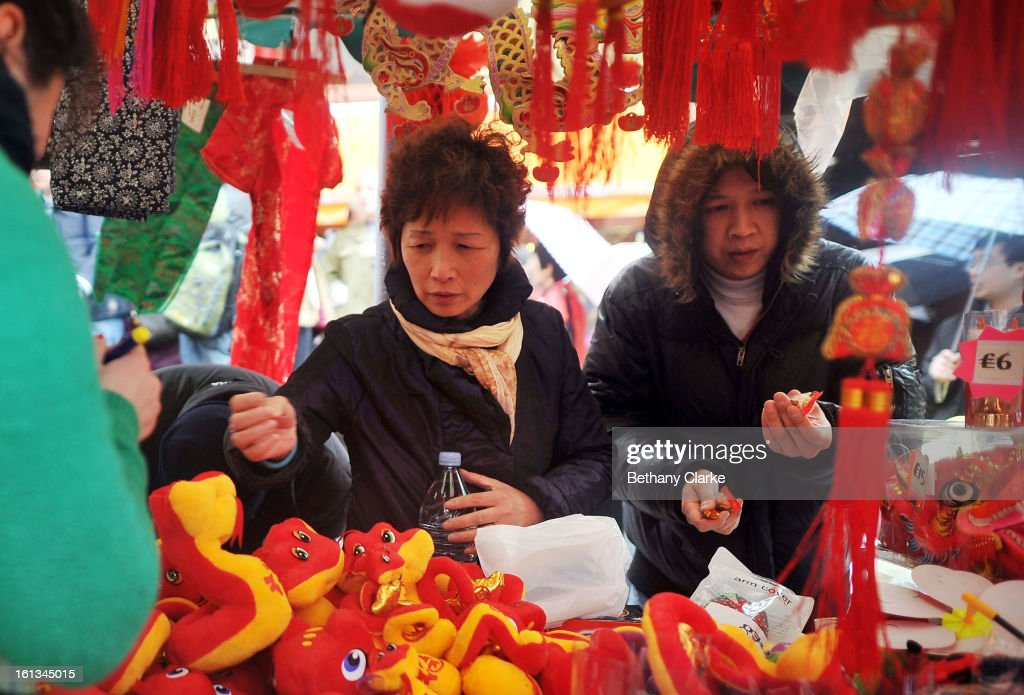 A toy stall selling new year gifts in China Town February 10, 2013 in London, England. London's Chinese community celebrate the start of the Year of The Snake with traditional dancing, music and fireworks.