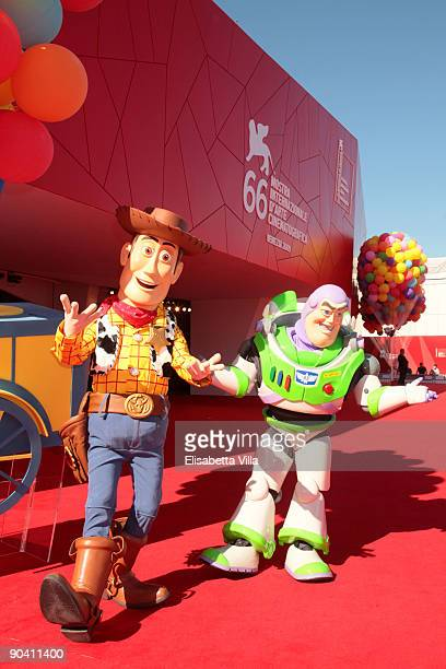 Toy Story characters Woody and Buzz Lightyear attend the Golden Lion Lifetime Achievement Award at the Sala Grande during the 66th Venice Film...
