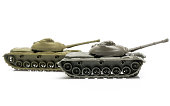 Picture of 2 toy tanks.
