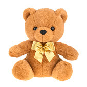 Toy teddy bear isolated on white, without shadow