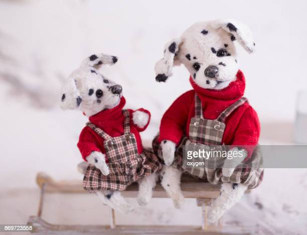 Toy Teddy Dog Dalmatians on a red sweater