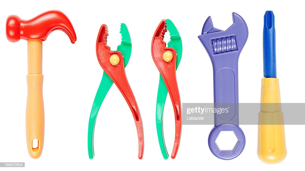 Toy tool set (clipping paths)