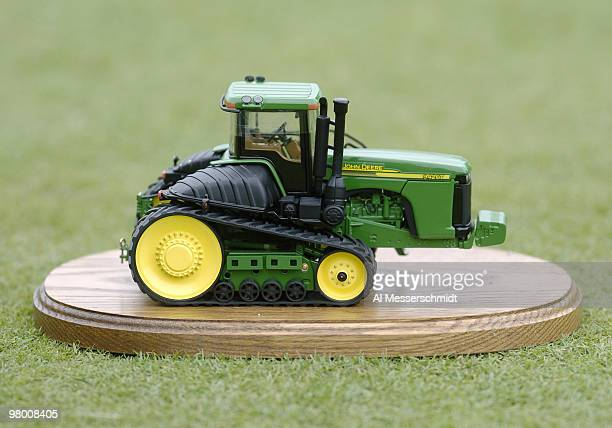 A toy tractor marks the 18th tee at the Tournament Players Club at Deere Run during third round play July 10 2004 at the 2004 John Deere Classic