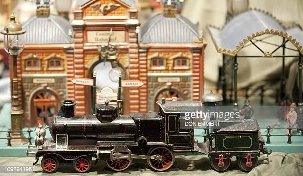 A toy train is on display as part of The Jerni Collection of Toys and Toy Trains February 17 2011 at Sotheby's in New York The group of toys is...