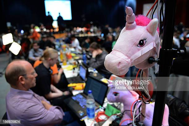 A toy unicorn is placed at a party congress of the Pirates Party in Bochum western Germany on November 25 2012 The Pirate Party is meeting for two...