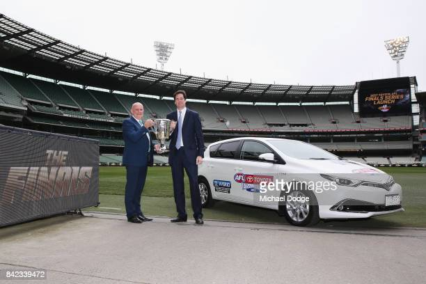 Toyita President Dave Buttner and AFL CEO Gillon McLachlan pose with the AFL Premiership Cup during the 2017 AFL Finals Launch at Melbourne Cricket...