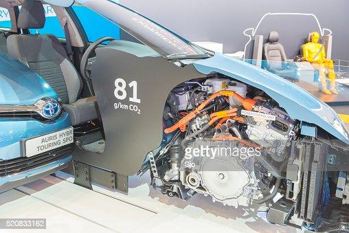 Toyota Auris cross section showing the hybrid powertrain