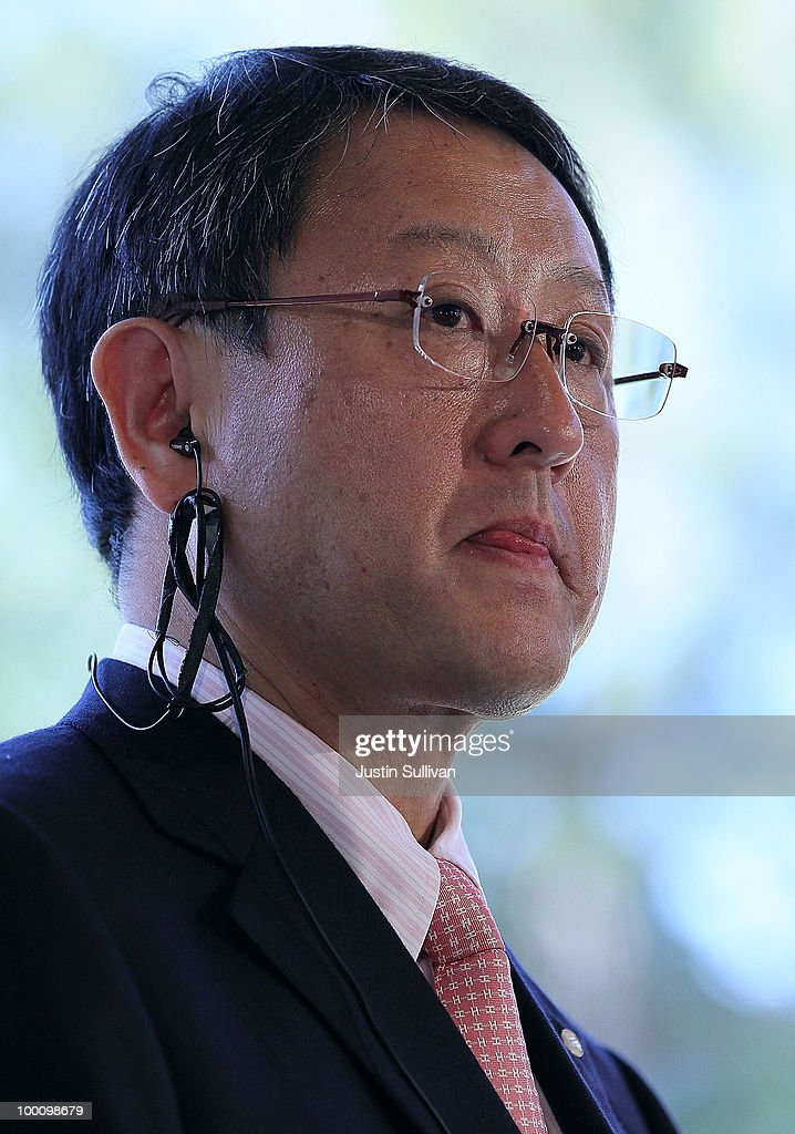 Toyota CEO Akio Toyoda speaks during a news conference at Tesla Motors headquarters May 20, 2010 in Palo Alto, California. Electric car maker Tesla Motors annoucned a partnership with Japanese automaker Toyota to make electric cars in the United States. The cars will be manufactured at the recently shuttered NUMMI plant in Fremont, California where Toyota had pulled out after a joint partnership with General Motors had ended.