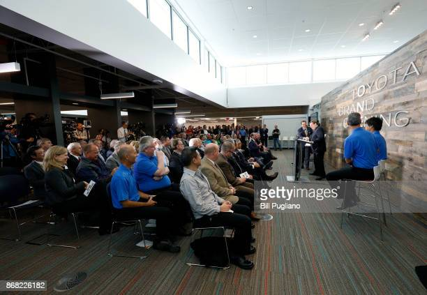 Toyota CEO Jim Lentz speaks at the unveiling of a new Toyota engineering headquarters October 30 2017 in Georgetown Kentucky The 235000 square foot...