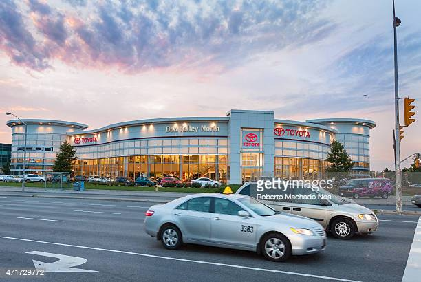 NORTH TORONTO ONTARIO CANADA Toyota dealer with interesting architecture at dusk in Toronto city